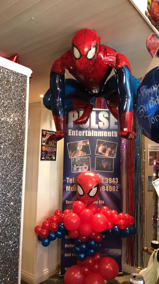 birthday balloons - spiderman themed balloons