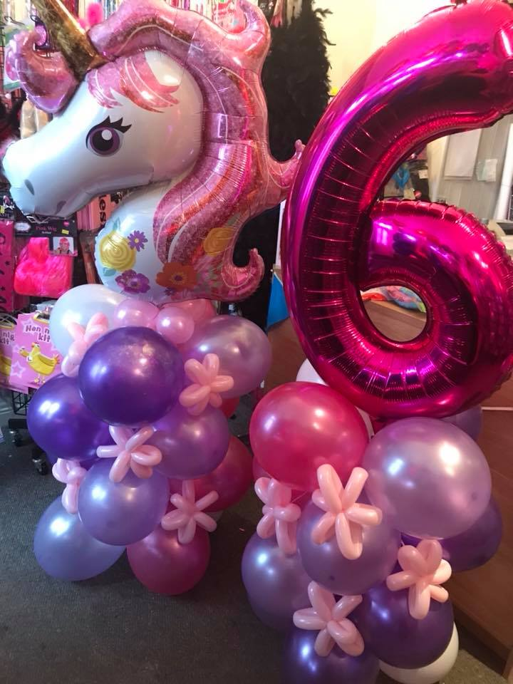 bespoke balloons - unicorn balloon spray - The Party and balloon shop Tyldesley